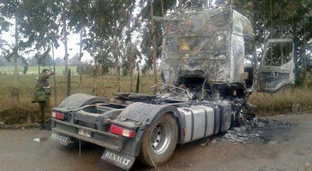 Dos camiones sufrieron daños por fuego tras ser atacados en La Araucanía