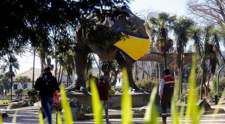 Plaza de Dinosaurios en Concepción amanece con mascarillas amarillas