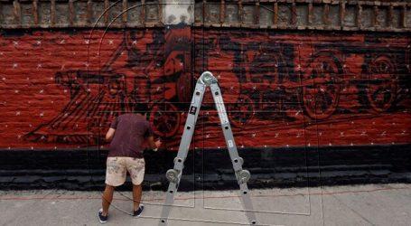 Santiago celebra 480 años con inicio de la pintura del Mural Barrio San Vicente